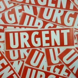 étiquette urgent ancien vintage papier grande imprimerie 1950