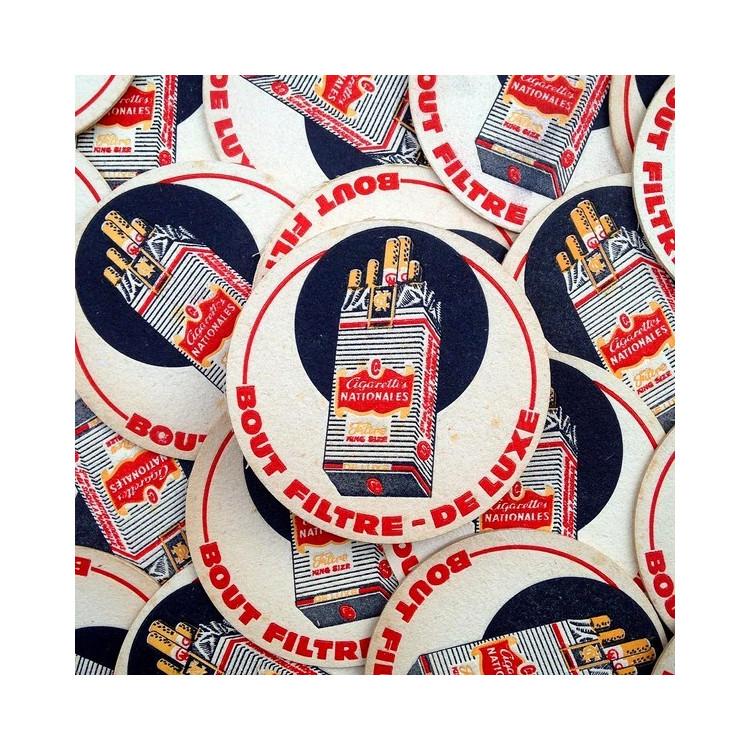 sous bock publicitaire ancien cigarettes nationales 1960 vintage tabac
