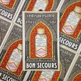 elixir bon secours cardboard antique vintage paper distillery 1930