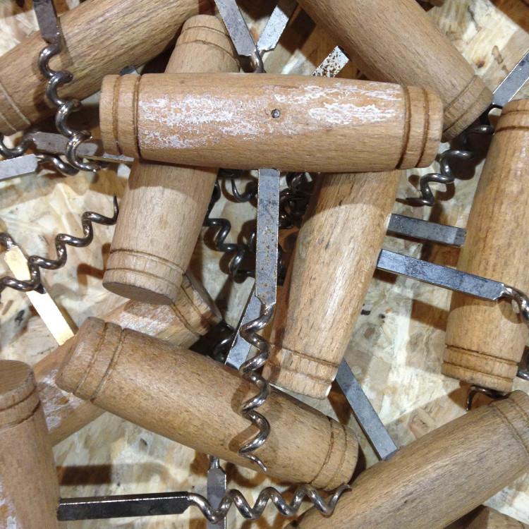 corkscrew vintage antique wooden wood traditional wine bar restaurant 1970