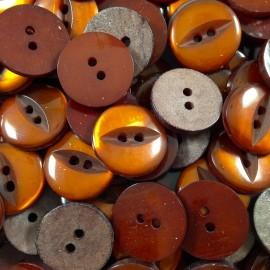 bouton oeil fente orange ancien vintage mercerie 1960 18mm