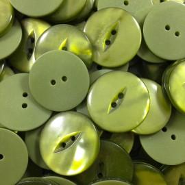mercerie ancien vintage bouton vert fente slot oeil plastique 1960 22mm