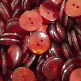 haberdashery antique vintage red bright button 18mm 1960
