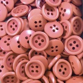 bouton mercerie terre cuite marron plastique ancien vintage 1960 13mm