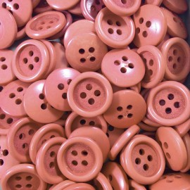 haberdashery antique vintage brown border terra-cotta button 16mm 1960