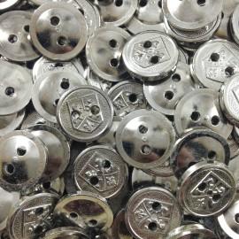 bouton ancien vintage mercerie argenté blason 18mm fantaisie