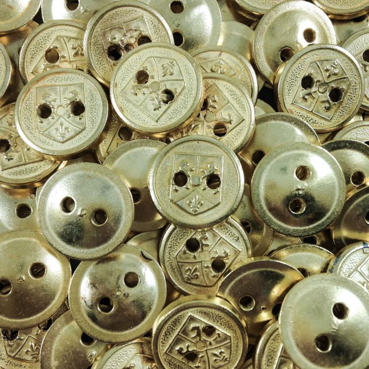 bouton ancien vintage mercerie doré blason 10mm fantaisie