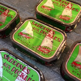 boite sardines conserve roi pickles vert bateau ancienne scotto di vettimo marseille 1950 1960 ancien vintage
