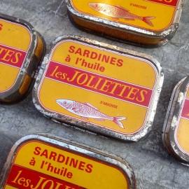 boite de sardines anciennes les joliettes jaune marseille 1960 conserve vintage