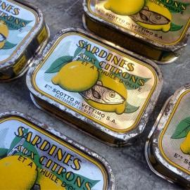 boite sardines conserve citron ancienne scotto di vettimo marseille 1950 1960 ancien vintage