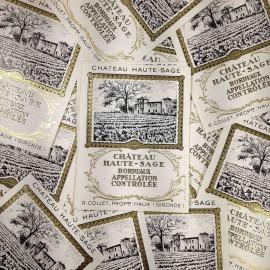étiquette vin alcool papier château haute sage ancien vintage imprimerie vignoble vignes 1970