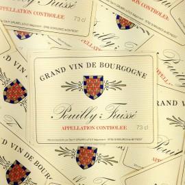 étiquette vin antique vintage pouilly fuissé bourgogne alcool bar bistrot imprimerie 1970