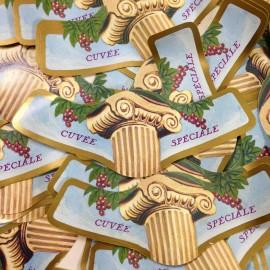 lot étiquette vin ancien vintage papier 3 cuvée spéciale imprimerie 1970