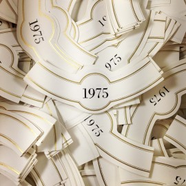 lot étiquette vin ancien vintage papier 3 col bouteille imprimerie 1975