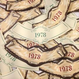 vintage antique paper wine label bottle neck printing factory 1978 bar