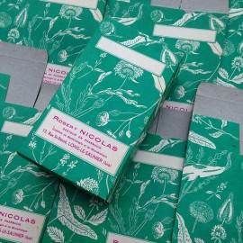 boite vert plante thé tisane infusion floral robert nicolas pharmacien pharmacie ancien vintage papier 1940