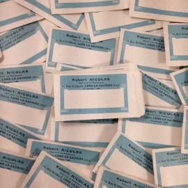 sachet robert nicolas papier ancien vintage bleu blanc pharmacie 1940