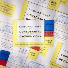 antique vintage paper pub publicitary  laboratory uréosantal vichy ovoïdes pharmacy 1940