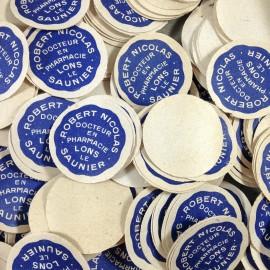 étiquettes rondes ancienne vintage papier robert nicolas pharmacie 1940