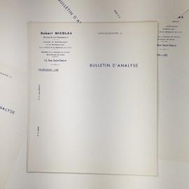 bulletin analyse papier vintage ancien pharmacie robert nicolas lot 1940