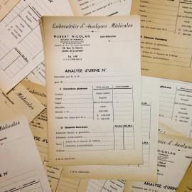 analyse urine ancien vintage papier pharmacie 1940 robert nicolas