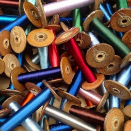 nice vintage bobbin thread colorful colored workshop 1930