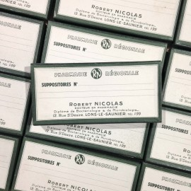 boite longue verte ancien vintage carton médicament suppositoire pharmacie robert nicolas 1940