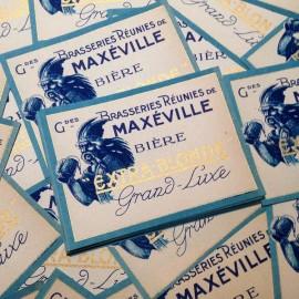 étiquette de bière ancienne gaulois gaule brasseries réunies de maxeville blonde or doré bleu 1920 1930