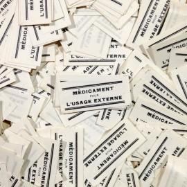médicaments pour l'usage externe étiquette petite ancien vintage pharmacie 1940