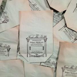 apothecary little paper bag robert nicolas antique vintage pharmacy 1940