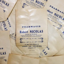 white paper bag antique vintage robert nicolas pharmacy 1940