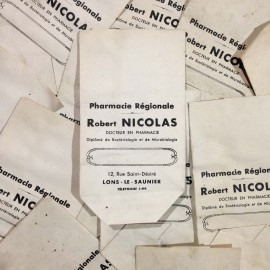 small white paper antique vintage robert nicolas bag pharmacy 1940