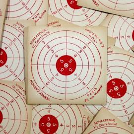 cible tir ancien armurerie papier vintage 1960
