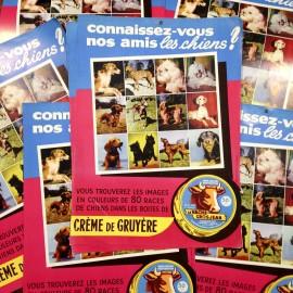 poster affiche gros jean crème gruyère vache chien ancien vintage carton épicerie 1970