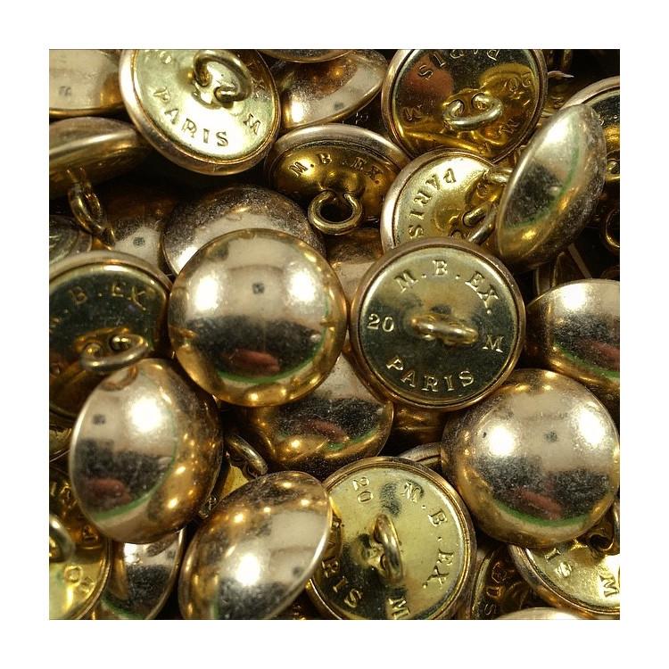 bouton militaire ancien demi grelot vintage laiton doré or 1960 20mm