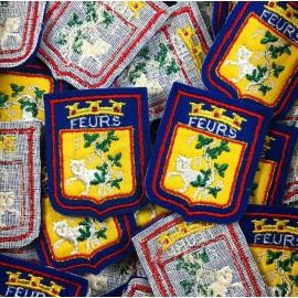 patch blason ville feurs st etienne ancien vintage broderie atelier thermocollant 1970