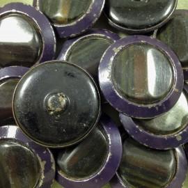 ancien vintage métal bouton plastique rubis jaune violet 36mm mercerie 1930