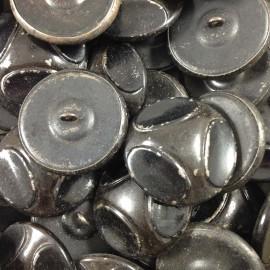 grand bouton noir métal ancien vintage mercerie 1930 36mm