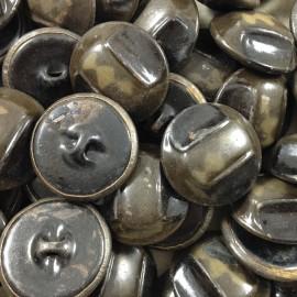 bouton or jaune métal ancien vintage mercerie 1930 26mm