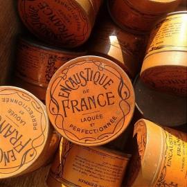 boite encaustique de france ancienne tole lithographiée vintage 1920 1930 orange art deco