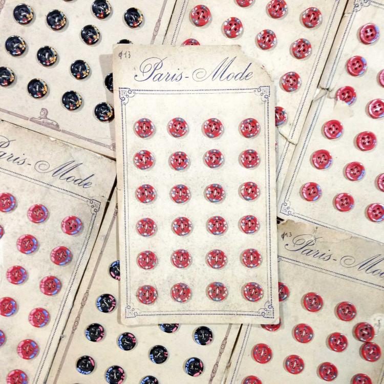 carte bouton ancien vintage fleuris 13mm mercerie 1930 24