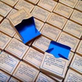 little box paper cardboard orange and blue old pharmacy vintage stock 1930 1940