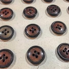 bouton corozo marron ancien vintage 15mm mercerie 1930