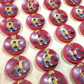 bouton plastique rouge ancien vintage skieur peinture main mercerie 1930 18mm