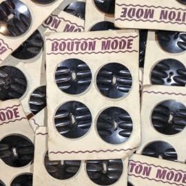 bouton mode noir plastique ancien décoré vintage mercerie 1930 35mm