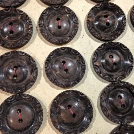 bouton plastique marron décoration ancien vintage mercerie 1930 22mm