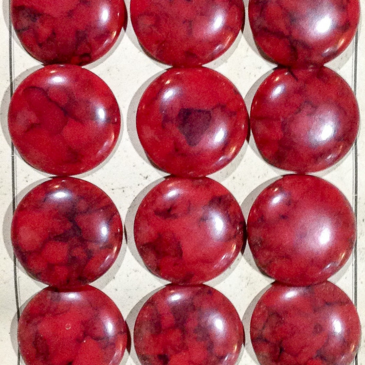 grand bouton rouge ancien vintage plastique mercerie 1930 35mm