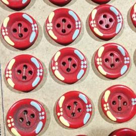 bouton rouge fleuris ancien vintage 20mm mercerie 1930