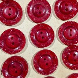 bouton rouge décoré ancien vintage plastique mercerie 21mm 1930