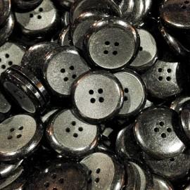 bouton noir incurvé ancien vintage plastique mercerie 22mm 1930